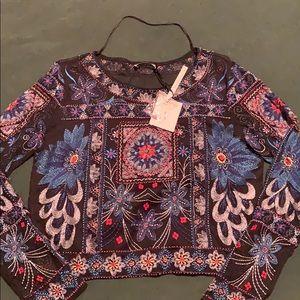 Zara Denim collection beaded top